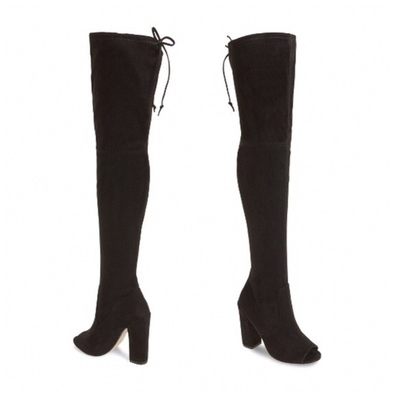 3cdf92b354b STEVE MADDEN BLACK OPEN TOE THIGH HIGH BOOTS